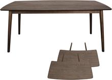 Carlos matbord i rökt Ek.- längd 180/280 cm. med tilläggsskriva.