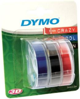 DYMO 3D Präglingstejp 9mm x 3M - Röd, Blå , Svart **3-pack** Blister