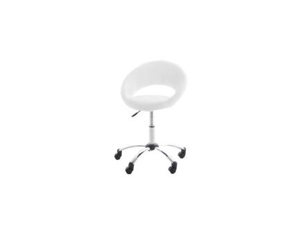Plus kontorstol i hvit PU kunstskinn og krom stell.