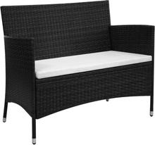 vidaXL Trädgårdsbänk 106 cm konstrotting svart