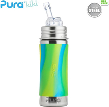Pura Kiki Trinkflasche 325ml - Strohhalm Aufsatz (inkl. Schutzkappe) - Blue Swirls