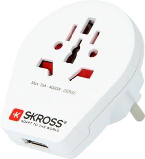 SKROSS El-Adapter Europa med USB
