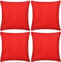 vidaXL 4 Kuddöverdrag i bomull röda 40 x 40 cm