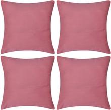 vidaXL 4 Kuddöverdrag i bomull rosa 40 x 40 cm