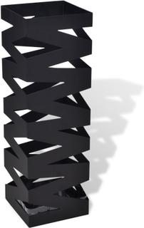 vidaXL Sort kvadratisk holder til paraplyer og stokke, stål, 48,5 cm