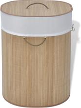 vidaXL Tvättkorg i bambu oval natur