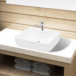 vidaXL Keramisk håndvask med vandhanehul hvid firkantet