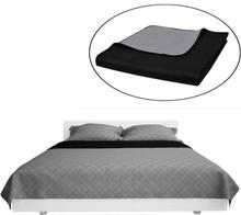 vidaXL Dubbelsidigt vadderat överkast svart/grå 230 x 260 cm