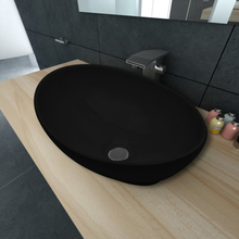 vidaXL Luksusservant keramisk oval svart 40 x 33 cm