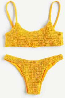 Shirred bikini sæt