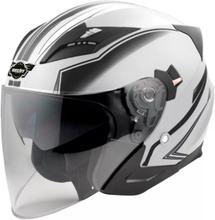 Hjälm för motorcykel - vit &amp svart - L