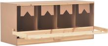 vidaXL rugekasse 4 rum 106 x 40 x 45 cm massivt fyrretræ