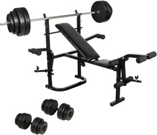 vidaXL Hjem motionsrum med vægt bænk, håndvægte og vægtstænger