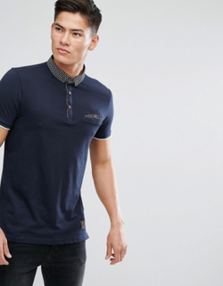 Brave Soul Contrast Collar and Pocket Polo - Navy