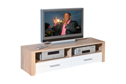 ABSOLUTO Tv-benk Hvit/Lys eik -