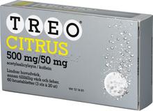 Treo citrus Brustablett 500 mg/50 mg Acetylsalicylsyra + koffein 3 x 20 st