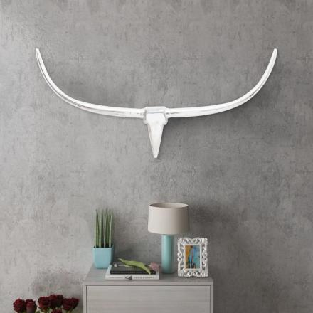 vidaXL Väggmonterad Tjurhuvud dekoration Silver 125 cm