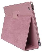 Lædertaske /-holder til iPad 2/iPad 3/iPad 4. Lyserød.
