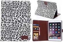Leopard cover med kreditkortholder til iPad Mini 1/2/3. Hvid.