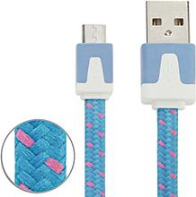 Micro USB Laddare med tygkabel 3m Blå
