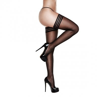 Baci - Banded Silicone Stay-up Thigh Highs Queen Size