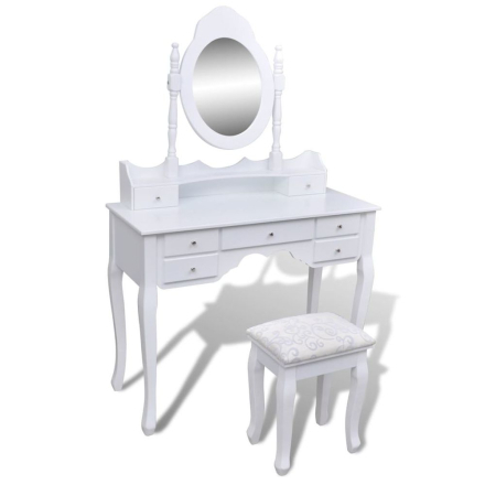 vidaXL Sminkbord med spegel och pall 7 lådor vit XXL