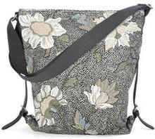 Shoulder Bag Black Flower Linen