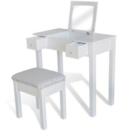 vidaXL Sminkbord med pall och 1 uppfällbar spegel vit