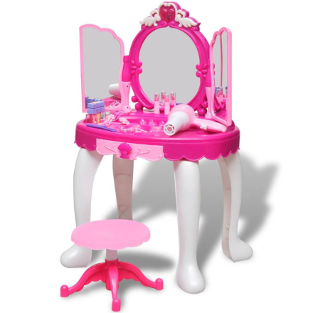 vidaXL Sminkbord för barn med 3 speglar och ljud- ljuseffekter