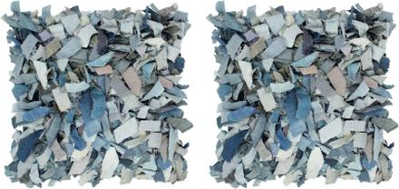 vidaXL Kuddar 2 st denim långhårig blå 45x45 cm läder och bomull