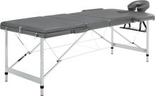 vidaXL Massagebänk med 3 zoner aluminiumram antracit 186x68 cm