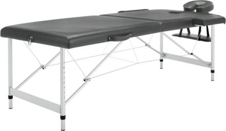 vidaXL Massagebänk med 2 zoner aluminiumram antracit 186x68 cm