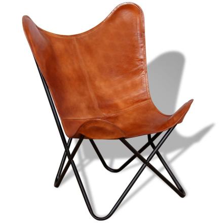 vidaXL Fladdermusfåtölj i äkta läder brun