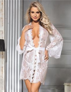 White Delicate Lace Sleepwear Gown
