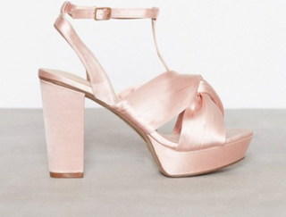 Bianco Satin Strap Sandal High Heel Powder