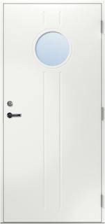 Ytterdörr Moa med klarglas 9x19 Högerhängd Klarglas Motsvarande ett ASSA 8765 Faluröd NCS S5040–Y80R Samma färg som dörrens utsida