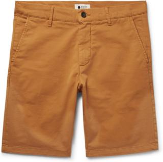 Crown Slim-fit Garment-dyed Stretch-cotton Twill Shorts - Saffron