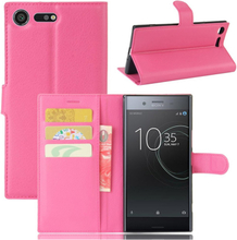 Sony Xperia Xz Premium Litchi Skinn Tekstur PU Lær Flip Etui - Rose