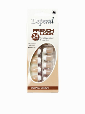 Depend French Look Nails - Long Square Design Beige
