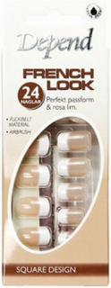 Depend French Look Nails - Long Square Design Lösnaglar Beige