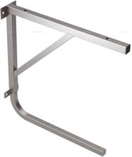Konsol för bordsskriva med plats för hylla under, rostfritt stål