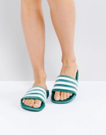 adidas Originals Adilette Velvet Slider Sandals In Dark Green