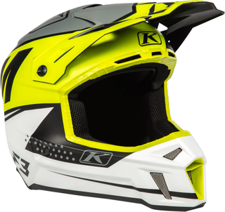 Klim F3 Bomber Lime Motocross hjälm Vit Gul L