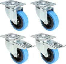 4 x Blå hjul 100 mm (2 med och 2 utan broms)