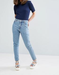 Monki Kimomo organic cotton high waist mom jeans in mid blue