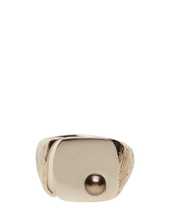 Molded Pearl Signet Ring - Square