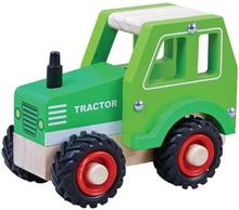 Houten Tractor groen met rubberen wielen