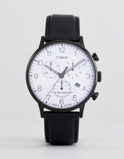 Timex TW2R72300 Waterbury Classic Chronograph Leather Watch In Black - Black