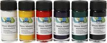 Magic Marble Marmoreringsmaling, standardfarver, 6x20ml