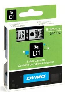 Dymo tape D1, labels, sort tekst på klar tape, 9 mm x 7 m.
